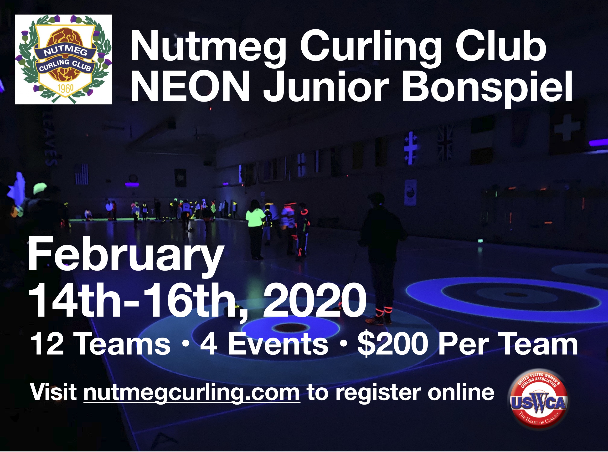 2020 neon junior bonspiel flyer uswca logo